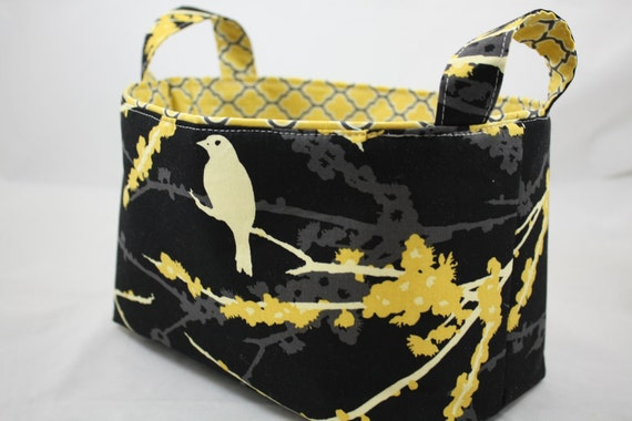 Reversible Fabric Bin - Sparrows black and yellow 10 x 5.5 x 6