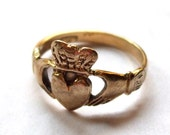 Small Claddagh Ring 9k Irish Gold Ring Multiple Markings