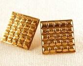 10k Gold Filled Gold Brick Waffle Earrings