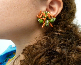 Faux Coral Lime Green and Rhinestone Earrings