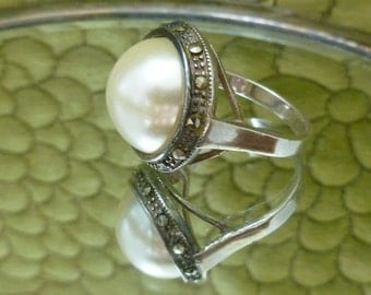 Sterling and Faux Mabe Pearl Ring with Marcasites sz 9