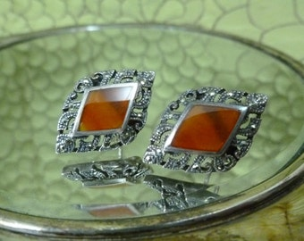 Art deco marcasite and red glass sterling earrings