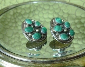 50% OFF SALE Tumbled malachite sterling earrings