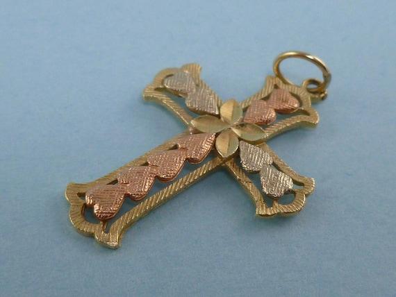 14k tri color gold cross