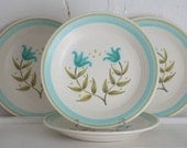 Vintage Franciscan Ware Dessert Plates: Set of 4 Franciscan Ware Tulip Time Bread and Butter Plates with Teal and Green Tulips
