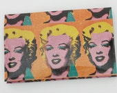 Andy Warhol Marilyn Monroe Wallet - Upcycled Vintage Magazine Ad Business Card Case