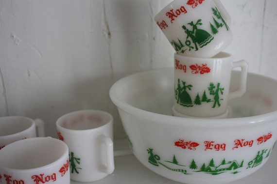 Hazel Atlas Egg Nog Bowl and Cups - Vintage Retro Punch Bowl and Mugs ...