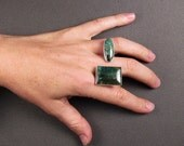 Split Turquoise Cocktail Ring (Studio Sale - Sterling) - size 7.5-8.5