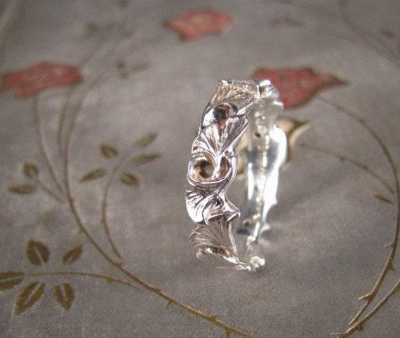 Sterling Carved Ginkgo Ring