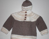 Hand Knit Sweater and Beanie Set - Chocolate and Cream (w/Vintage Yarn) - 9 Months