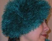 Handknit Hat - Peacock Blue Explosion of Romance