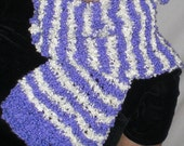 Handknit Tie / Scarf - Purple and Off-White Stripes Boucle Yarn (Twin Smiles)