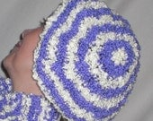 Handknit Beret / Hat - Purple and Off-White Stripes Boucle Yarn (Twin Smiles)