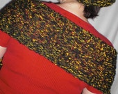Handknit Scarf - Black and Yellow - Fireflies in the Forest (Vintage Yarn)