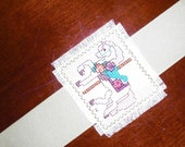 Handmade Cross-Stitched Bookmark - Carousel Horse