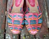 SALE Vintage Multi Color Woven Leather Najavo Flats