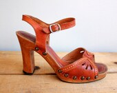 S A L E  Vintage 1970s Wood and Aburn Leather Heels