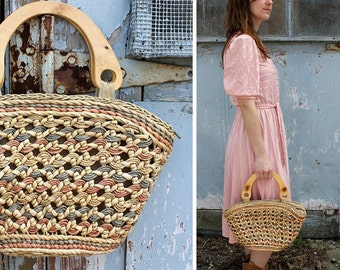 FINAL SALE Vintage Coral Straw and Wood Basket Tote