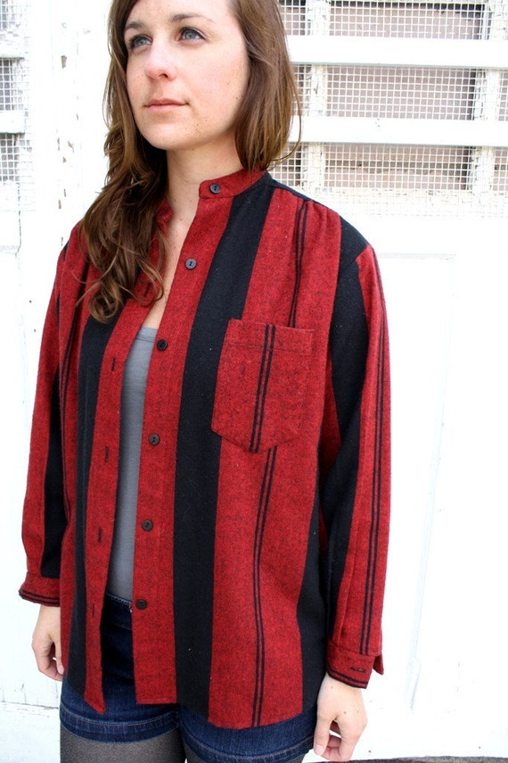 LAST CHANCE Vintage Scarlet Red and Black Striped Linen Button Up