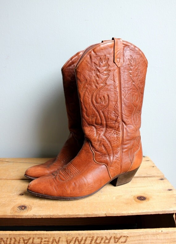 Vintage Stitched Chestnut Brown Cowboy Boots