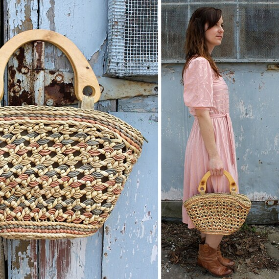 FINAL SALE Vintage Coral Straw and Wood Basket Tote