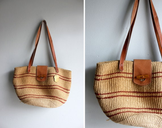 Vintage Twine and Leather Market Tote