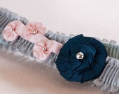 1920s Silk Garters with Navy and Peach Art Deco Ornaments