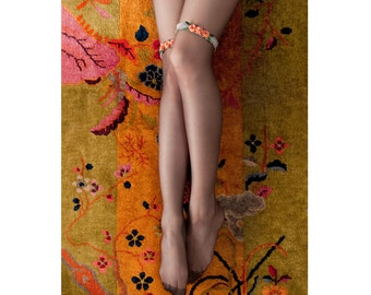 Flapper Garter Set with Orange Flowers