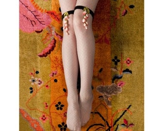 1920s Inspired Silk Garters with Pink and Coral Flowers