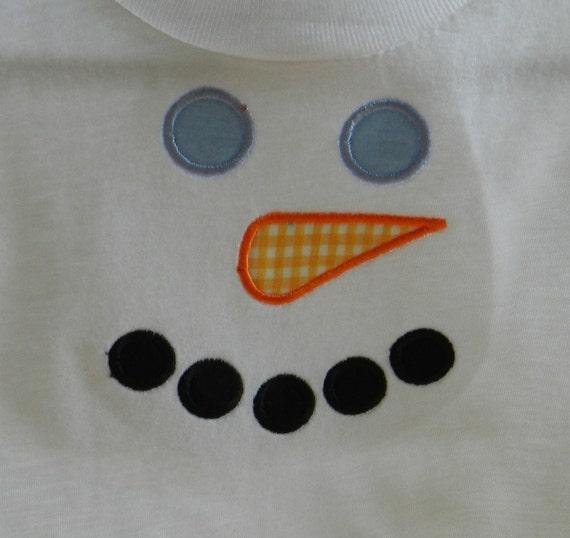 Personalized Snowman face applique t shirt or onesie, personalized applique winter shirt