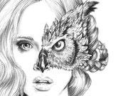 Iris - illustration- Owl mask- Black and white- 8X10 signed print- woman -portrait