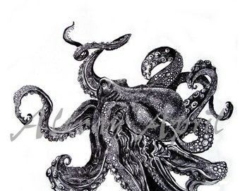 Sea Monsta print by April Alayne -octopus- squid
