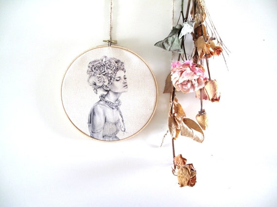 Embroidery hoop art - Romantic illustration- print- woman portrait- canvas