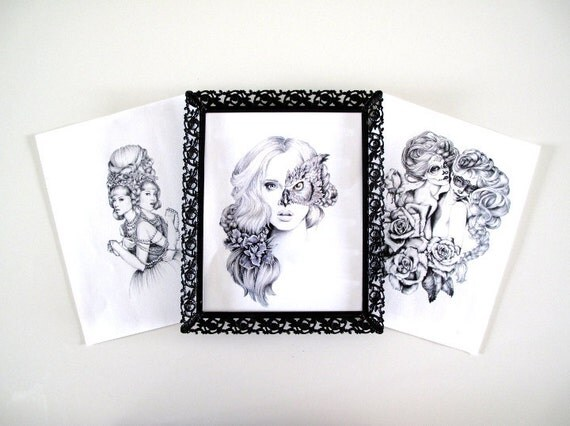 SALE -3 Illustrations- Set- Collection Black and white- 8 X10 signed prints