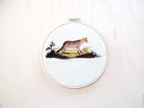 Embroidery hoop- art - Fox in field- vintage illustration- print- canvas lace- mixed media