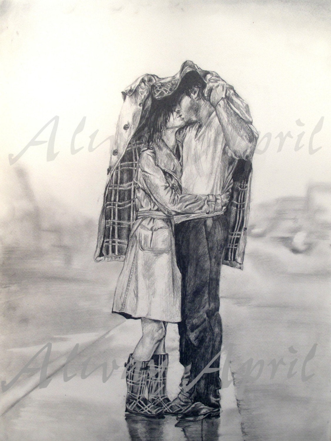 Drawing Of Couple Kissing In The Rain | www.pixshark.com ...