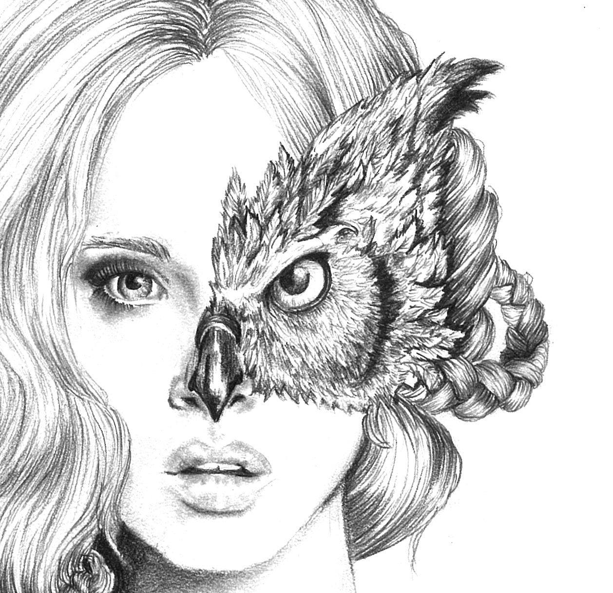 Iris Illustration Owl Mask Black And White 8X10 Signed