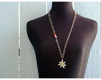 Ivory Petaled Boho Bronze Necklace