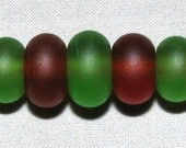 """7 """"Lime & Brown"""" Lampwork Beads Made From Antique Sea Beach Glass - Jewelry, Crafts, Art"""