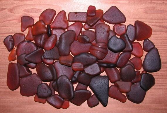 "75 Genuine Sea Beach Glass  Gems ""BROWN""  Tumbled San Juan Island, WA - Jewelry, Mosaic, Specimen, Decor, Art, Craft, Beads"