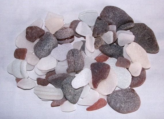 "75 Genuine Sea Beach Glass Gems ""Large Brown & Clear Textured"" Tumbled San Juan Island, WA- Specimen, Jewelry, Mosaic, Art, Craft, Beads"