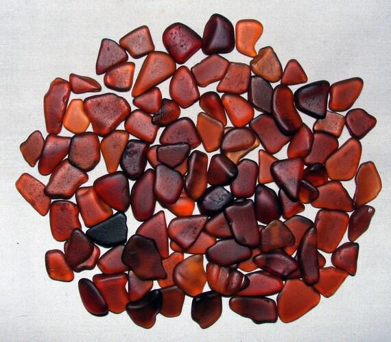 "75 Genuine Sea Beach Glass Gems ""Dainty Brown"" Tumbled San Juan Island, Wa - Jewelry, Mosaics, Arts, Crafts"