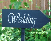 Wedding Directional Sign. 8 X 24 inches. Personalized Wooden Wedding Sign points the direction to the Wedding, Ceremony, Reception or Event.