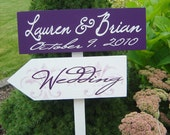 Wedding Directional Sign with Arrows and Damask. Great for Beach Wedding, Ceremony, Reception, Parking or Dancing.