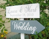 Wedding Signage, Custom Wood Directional Sign with Arrow and Bride and Grooms Names and Wedding Date.