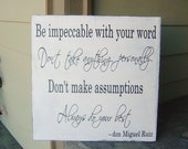 The Four Agreements, Family Sign, Custom Home Décor, 18 X 18 in., solid wood.  Great Christmas, Holiday, Wedding Gift or Housewarming idea.