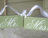 Mr. and Mrs. and Thank You Wedding Chair Signs, 6 x 12 in, 2-sided, Seating Signs, Wedding Signs for your Photo Props and Thank You Cards.