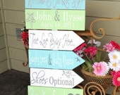 Destination Wedding Signs.  Six Customized Wedding Directional Signs with Arrows, handmade, unique signs for your Beach Wedding.