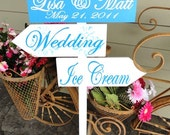 Directional Wedding Signs with Arrows and Damask Pattern, RUSH ORDER.  Personalized, custom, wooden wedding signs.  Ice Cream Anyone.