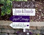 Beach Wedding Sign. Destination Wedding Directional Sign with Arrows. Welcome to Our Love Story begins the day at your Seaside Ceremony.